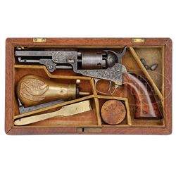 SCARCE CASED ENGRAVED COLT MODEL 1849 POCKET PERCUSSION REVOLVER.