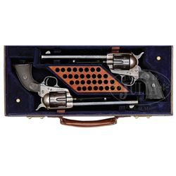 RARE CASED PAIR OF COLT FRONTIER SIX SHOOTER SINGLE ACTION ARMY REVOLVERS.
