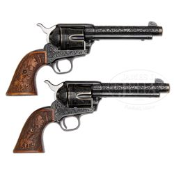 *EXTRAORDINARY PAIR OF CONSECUTIVE NUMBERED 2ND GENERATION COLT SINGLE ACTION ARMY REVOLVERS ENGRAVE