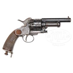 EXTRORDINARY CASED CONFEDERATE ENGRAVED AND SILVER INLAID BABY LEMAT PERCUSSION REVOLVER.