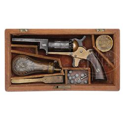 VERY RARE CASED WALCH BRASS FRAME PERCUSSION REVOLVER.