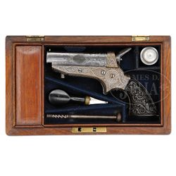 SCARCE CASED ENGRAVED TIPPING & LAWDEN 4-BARREL DERRINGER.