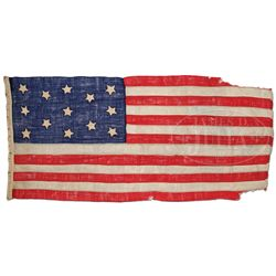 13 STAR CIVIL WAR BOAT FLAG FROM THE U.S.S. CIRCASSIAN WITH PROVENANCE.