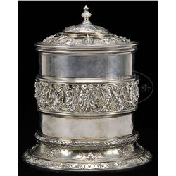 WONDERFUL ABRAHAM LINCOLN PRESENTATION SILVER HUMIDOR FROM 1861.