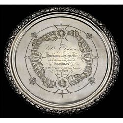 TIFFANY STERLING PRESENTATION TRAY TO COLONEL ABRAM DURYEE.