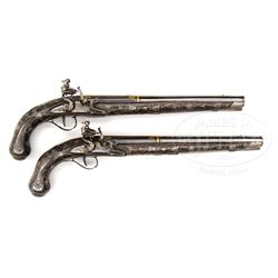 PAIR OF INTRICATELY DECORATED SILVER MOUNTED AND GOLD INLAID EASTERN EUROPEAN FLINTLOCK HOLSTER PIST