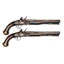 EARLY PAIR OF BRASS MOUNTED TATHAM (LONDON) FLINTLOCK HOLSTER PISTOLS.