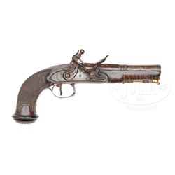 FINE SILVER MOUNTED LARGE BORE FRENCH FLINTLOCK POCKET PISTOL.