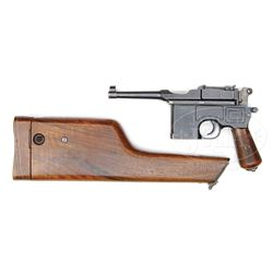 *MAUSER C96 POST WAR MAUSER BANNER BOLO WITH FRENCH RETAILER MARKINGS.