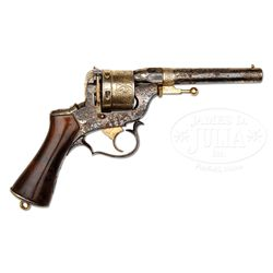 RARE SILVER-PLATED AND GOLD WASHED ENGRAVED PERRIN REVOLVER.