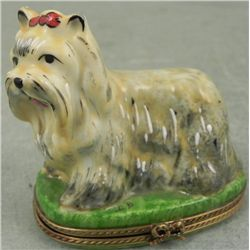 Limoges Dog w/ Red Bow Box Chamart France