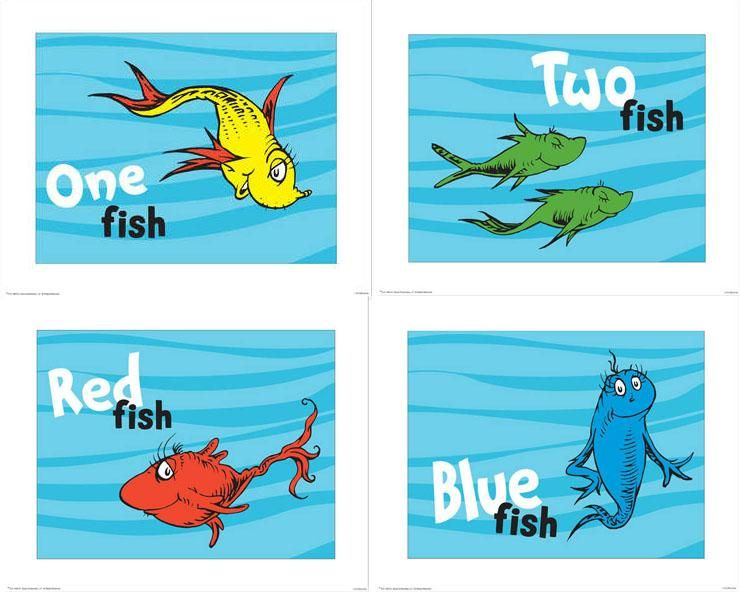 4 dr seuss prints 1 fish 2 fish red fish blue fish for Dr seuss one fish two fish