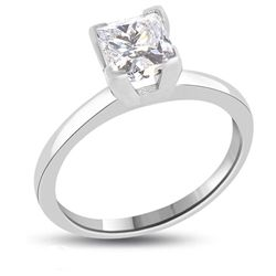 Princess Diamond 1 ct..F / VS2. Solid Gold ring