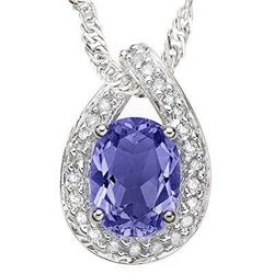 1.40 ct Tanznite & Diamond solid gold pendant