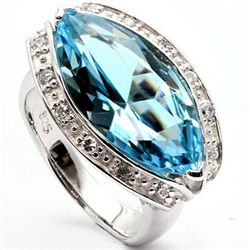 8.74 ct Blue Topaz & sterling silver ring