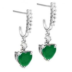 1.46 ct Emerald and Diamond gold ear rings