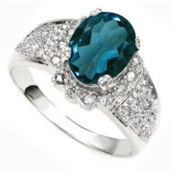 Diamond & London Blue Topaz Solid Gold Ring