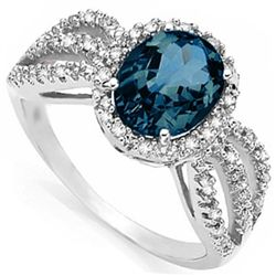 2.06 ct London Blue Topaz & 1/4 ct Diamond Ring