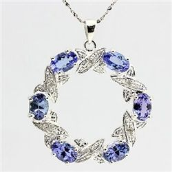 Stunning 2.66 ct Tanzanite & Diamond Pendant