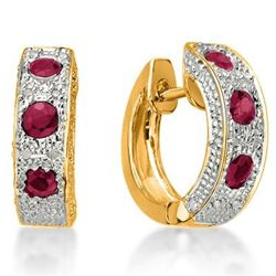 Genuine Ruby & Diamond Ear Ring