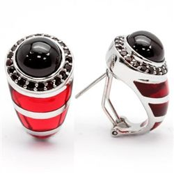 7.75 Ct. Persian Red Garnet & Murono Glass Ear Rings