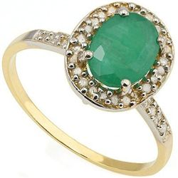 1.30 ct Emerald & Diamond gold Ring
