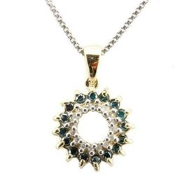 Blue & white Diamond solid Gold Pendant