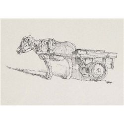 Burro with Cart by Hulings, Clark