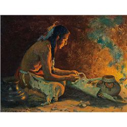 Indian by Firelight by Couse, Eanger I.