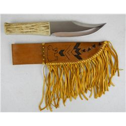 Native American Antler Handle Knife
