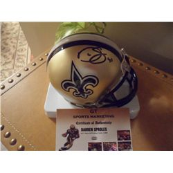 Signed-Darren Sproles Saints Mini Helmet w/COA
