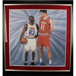 M.J W/ Yao Ming Unsigned Framed Photo
