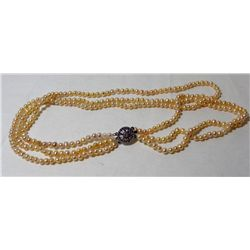 "Peach Pearl 3 Strand 16"" Necklace"