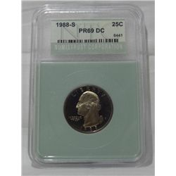 1988-S certified PR69 Cameo quarter dollar