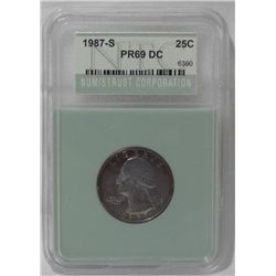 1987-S certified PR69 Cameo quarter dollar