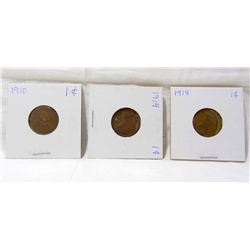 Lot-1910, 1914, 1918 Lincoln Wheat Cents