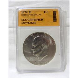 "1974-D Eisenhower ""Ike"" Dollar SGS Certified"