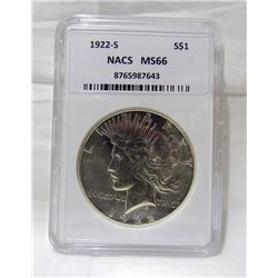 1922-S Silver Peace Dollar  NACS MS66