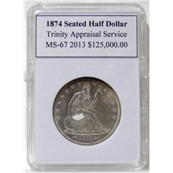 1874-P Seated Liberty Half Dollar TAS MS-67