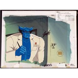 Signed Stan Lee Orig Animation Cel Background X-Men Art