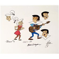 The Jetsons Original Judy Jet Animation Cel Rocking Out