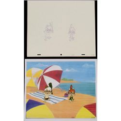Original Production Drawing Cel Bam Bam Pebbles