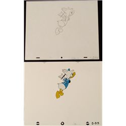 Animation Flying Donald Duck Cel Drawing Orig Art Wings