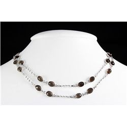 Smokey Quartz 40.00CT SilverSwivel LinkChain Necklace 1
