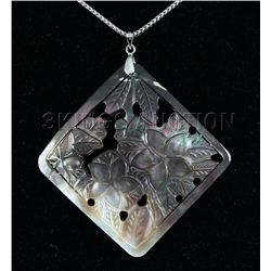 Semi Big 79.45ctw Mother Of Pearl Silver Pendant