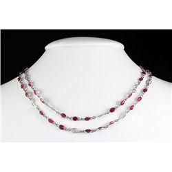 New Design Ruby 45.30CT Silver Bezel Necklace 8.48g
