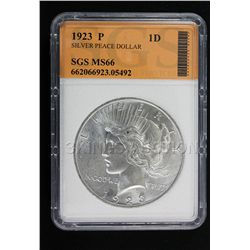1923 P Peace Dollar SGS MS66