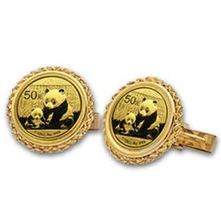 2012 1/20 oz Gold Panda Cuff Links (Polished Rope) 14KT