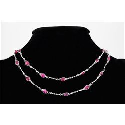 Natural Ruby 29.68CT in Silver SwivelLinkChain Necklace
