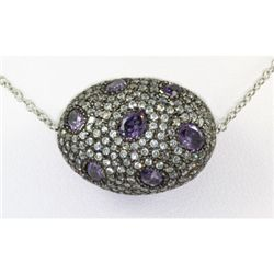 56.ctw Bizarre Egg Shape Silver Necklace